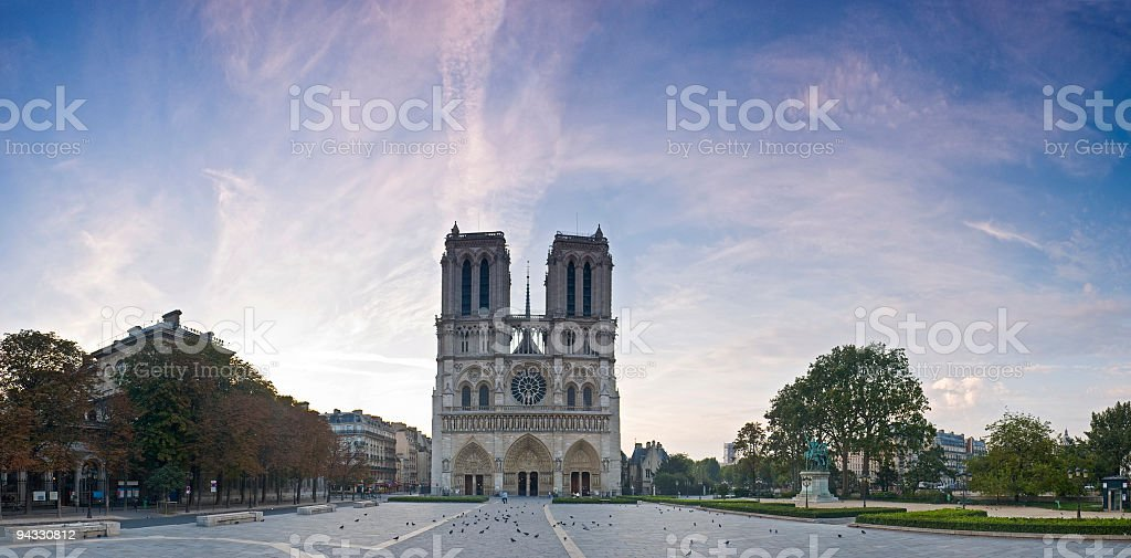 Dawn, Notre Dame de Paris royalty-free stock photo