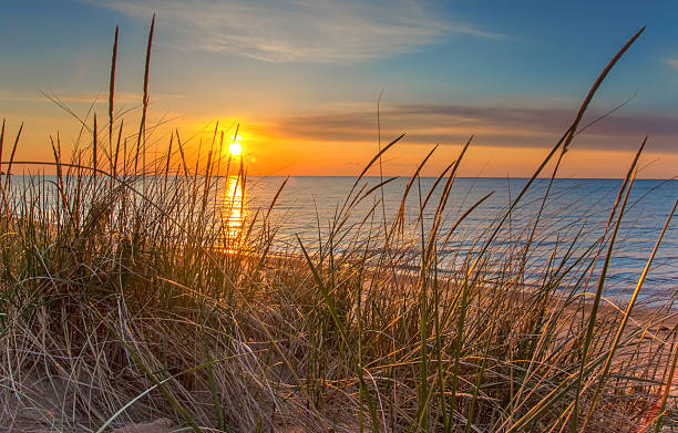dawn of a new day - sand dune stock photos and pictures