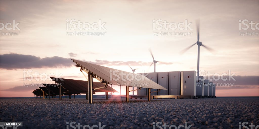Dawn of new renewable energy technologies. Modern, aesthetic and efficient dark solar panel panels, a modular battery energy storage system and a wind turbine system in warm light. 3D rendering. foto stock royalty-free