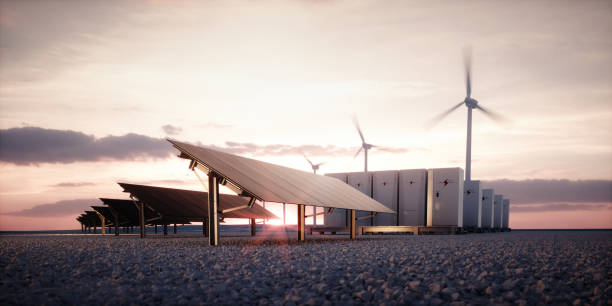 Dawn of new renewable energy technologies. Modern, aesthetic and efficient dark solar panel panels, a modular battery energy storage system and a wind turbine system in warm light. 3D rendering. stock photo