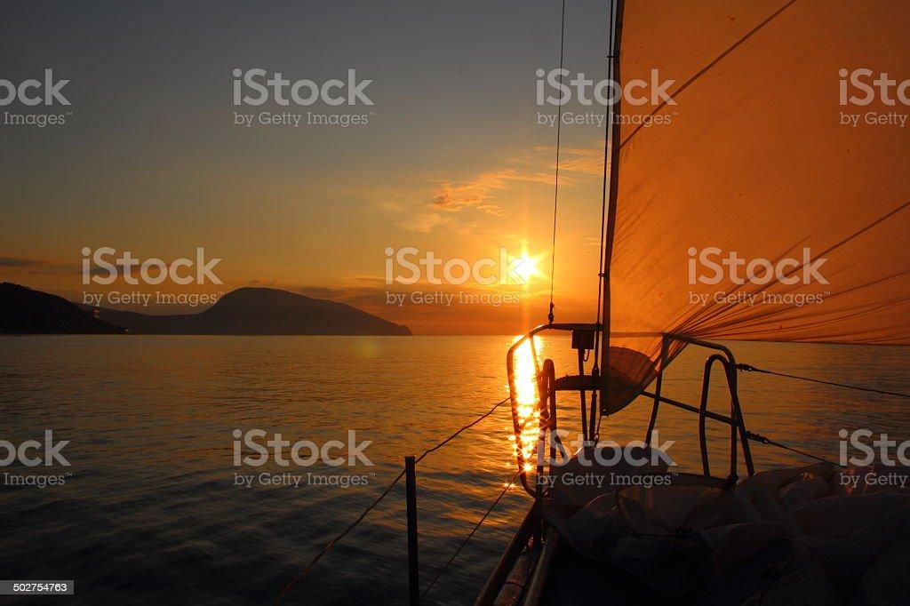 Dawn on a yacht stock photo