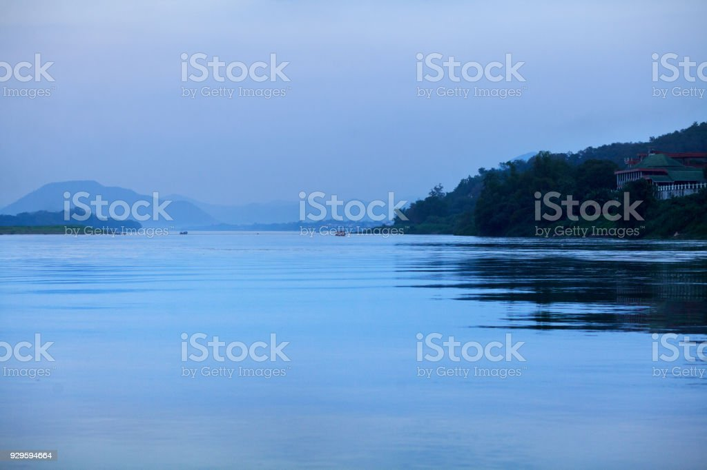 Dawn on Mekong river stock photo