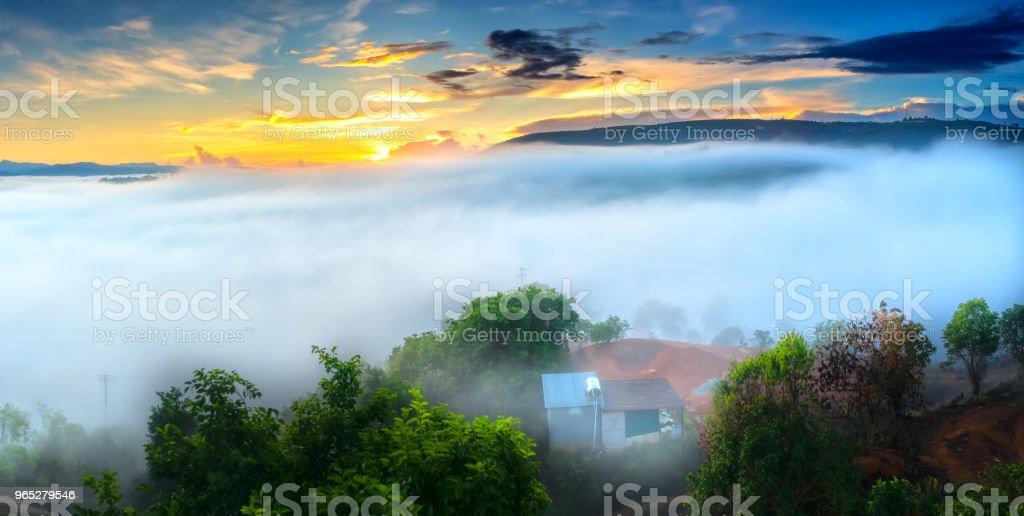 Dawn on plateau in morning with colorful sky zbiór zdjęć royalty-free