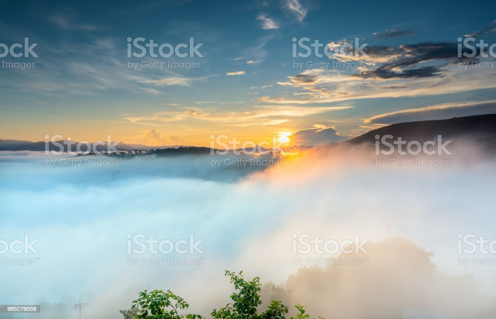 Dawn on plateau in morning with colorful sky royalty-free stock photo