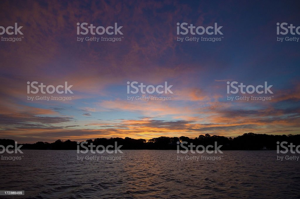 Dawn on the Chester River, Chestertown, Maryland stock photo