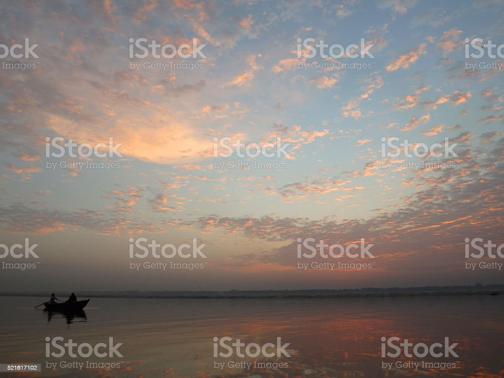 Dawn on the Ganges in Varanasi India stock photo
