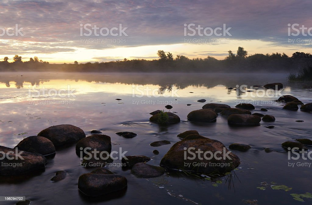 Dawn on the river royalty-free stock photo