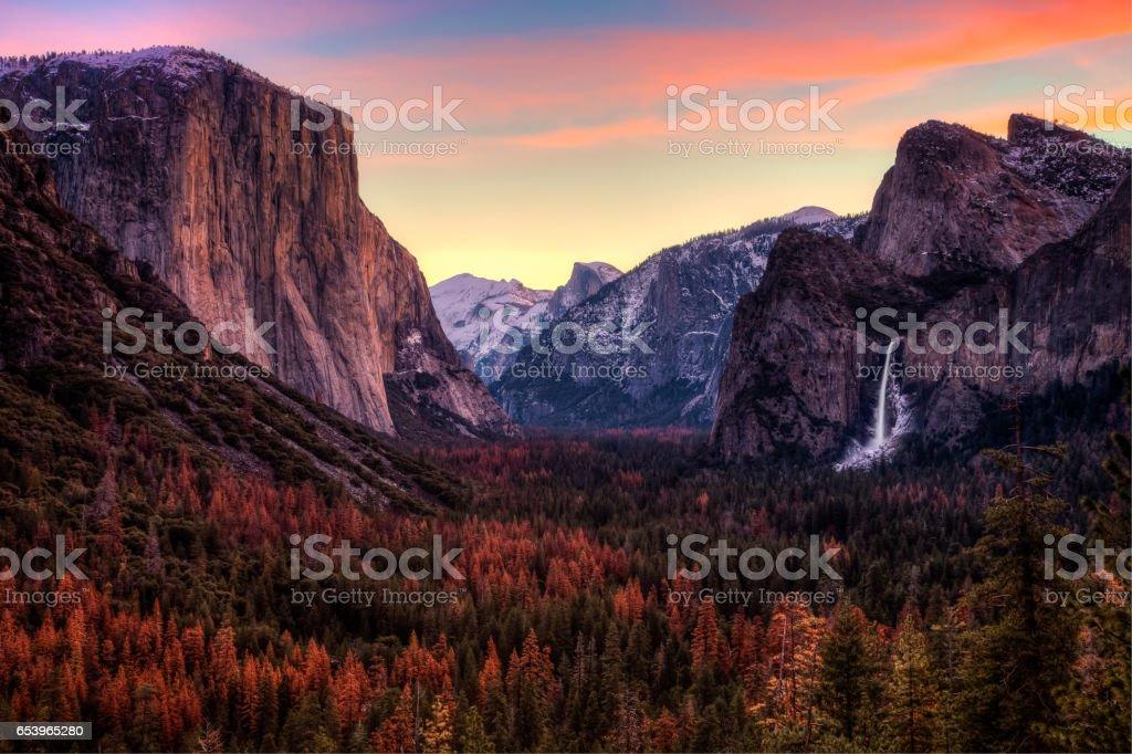 Dawn on Yosemite Valley stock photo