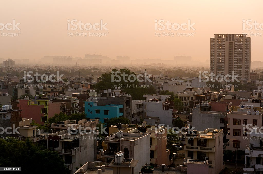 Dawn over gurgaon delhi showing buildings and homes stock photo
