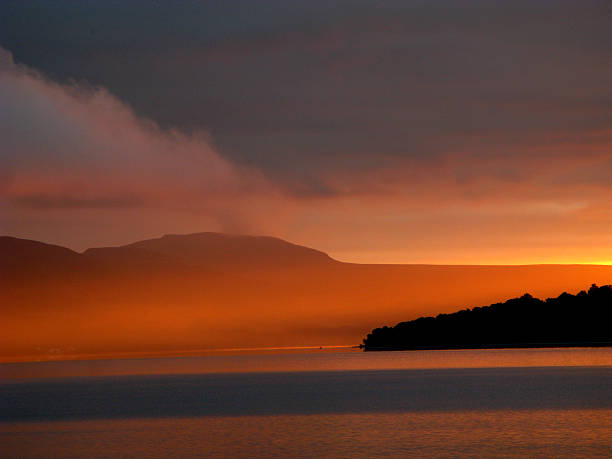 Dawn over Loch Lomond stock photo