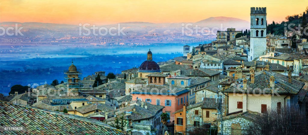 Dawn over medieval town Assisi. Landmarks of Italy, Umbria stock photo