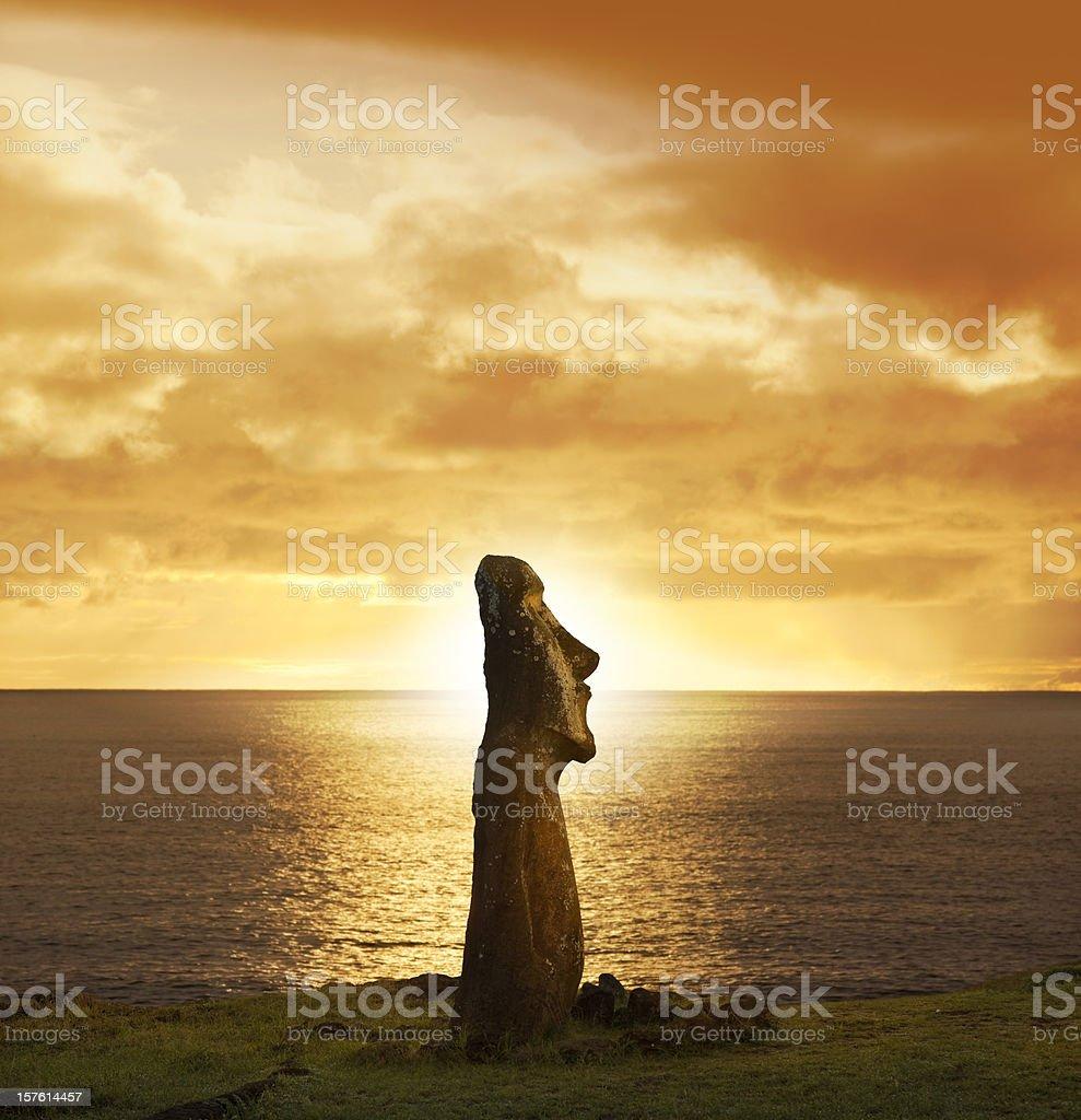 Dawn over moai at Ahu Tongariki Easter Island Chile stock photo
