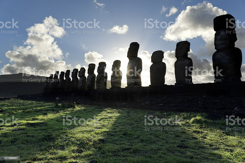 Dawn over Moai at Ahu Tongariki Easter Island stock photo