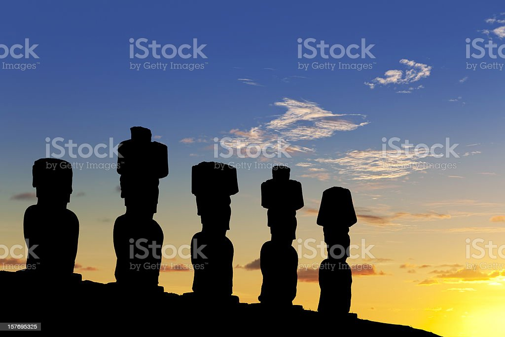 Dawn over Moais at Ahu Nau on Easter Island Chile royalty-free stock photo