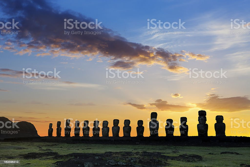 Dawn over moais at Ahu Tongariki Easter Island Chile stock photo