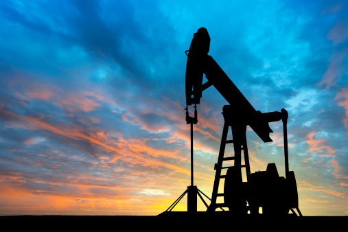 Dawn Over Petroleum Pump Stock Photo - Download Image Now