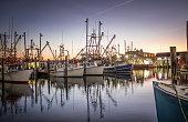 istock Dawn over the fishing fleet at Viking Village, Barnegat Light, NJ 1216694100