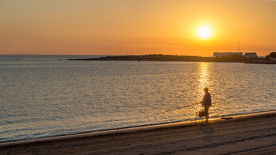 The photo was taken on June, 2020 in the morning on La Manga, Spain. Mediterranean Sea