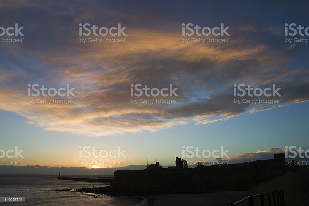 Dawn over Tynemouth Priory royalty-free stock photo