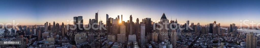 Dawn Panorama of Manhattan - Aerial Shot stock photo