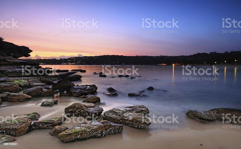 Dawn sunrise at Rocky Point Island stock photo