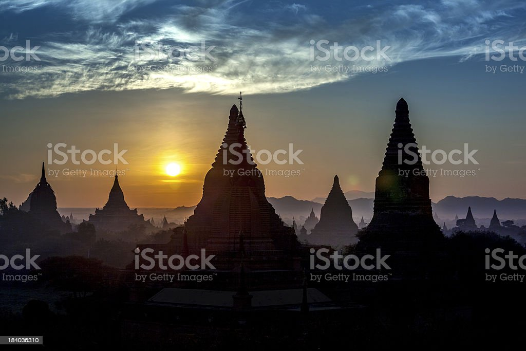 Dawn Temples, Bagan, Myanmar (Burma) royalty-free stock photo