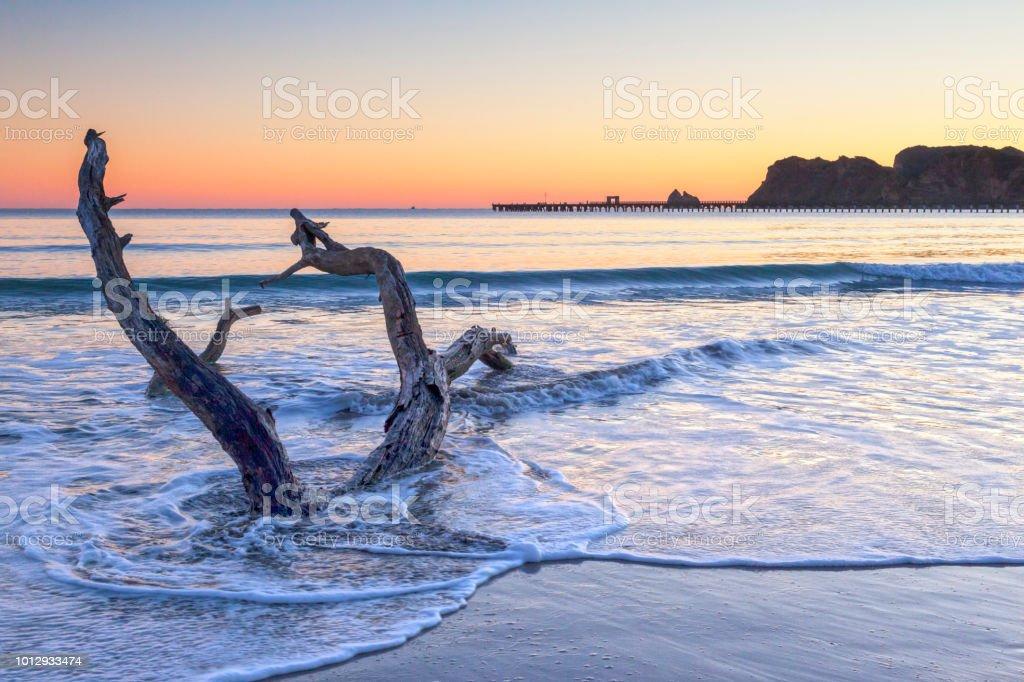 Dawn, Tolaga Bay, New Zealand stock photo