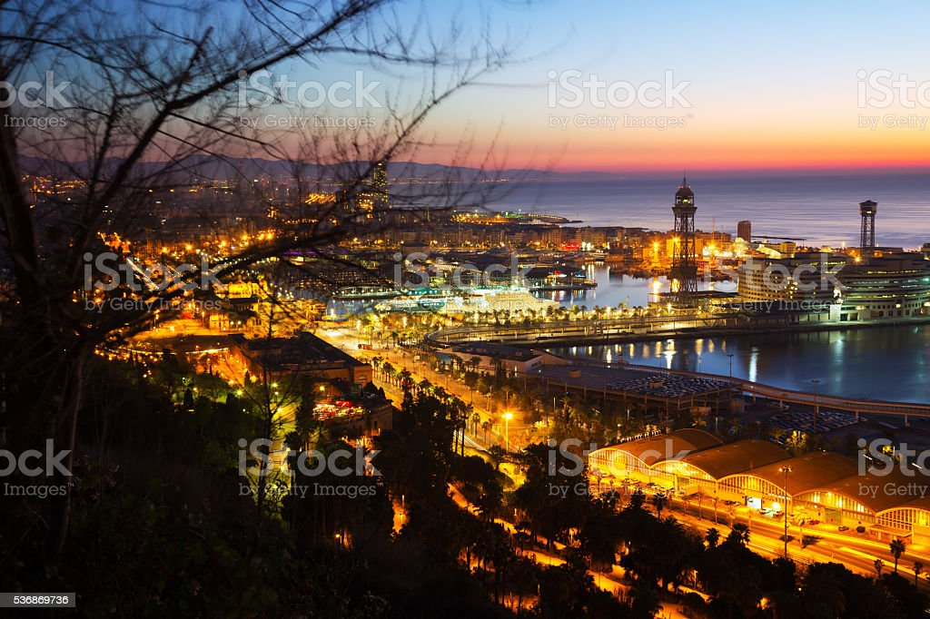 Dawn view of Barcelona from Mondjuic stock photo