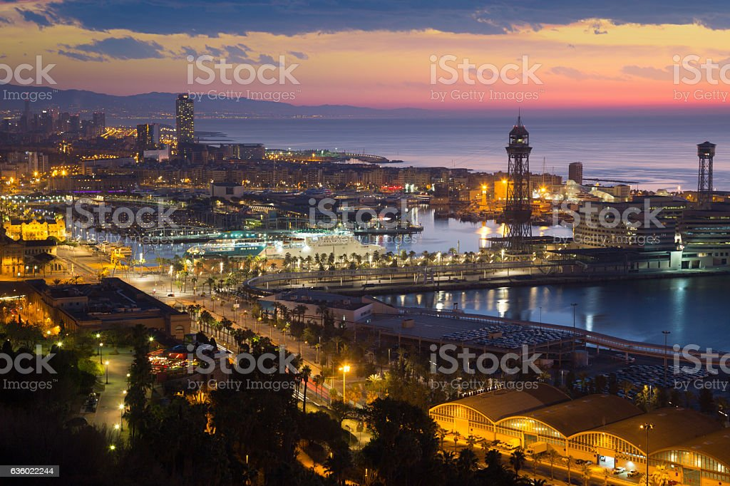Dawn view of Barcelona stock photo