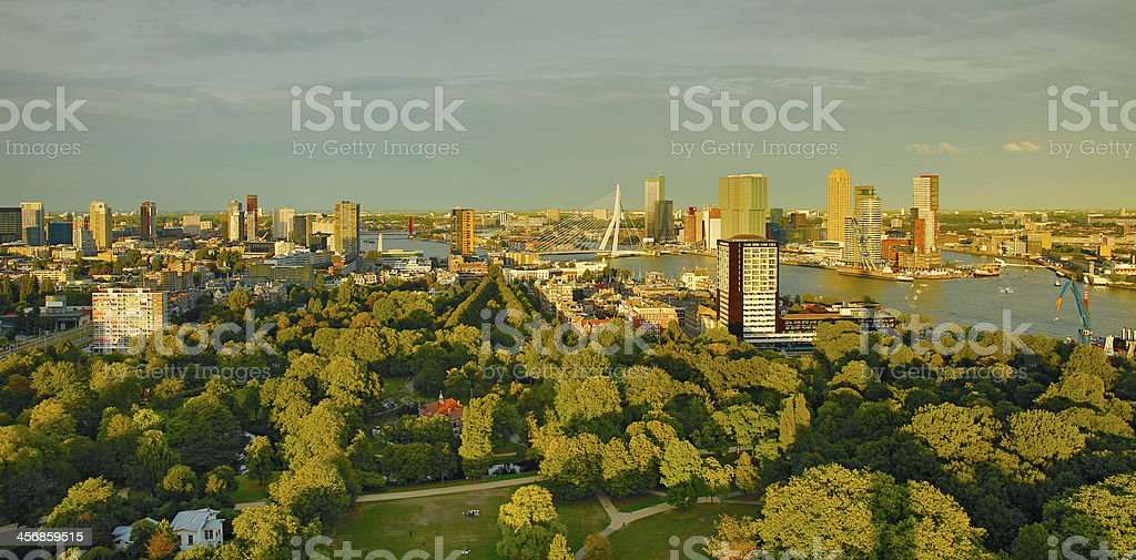 Dawn view of the Rotterdam harbor royalty-free stock photo
