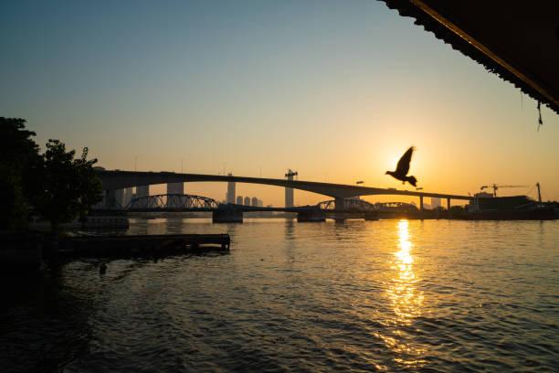 Morgenröte mit der Brücke – Foto