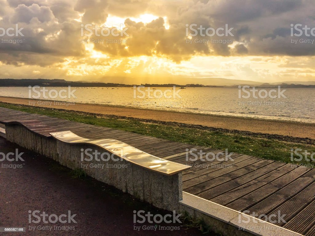 Dawning on the beach royalty-free stock photo