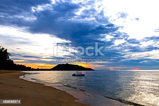 494377786istockphoto Dawning silhouette boat 489688974