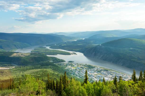 Dawson city panorama stock photo