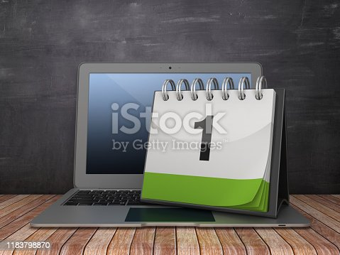 Day 1 Calendar with Computer Laptop on Chalkboard Background - 3D Rendering