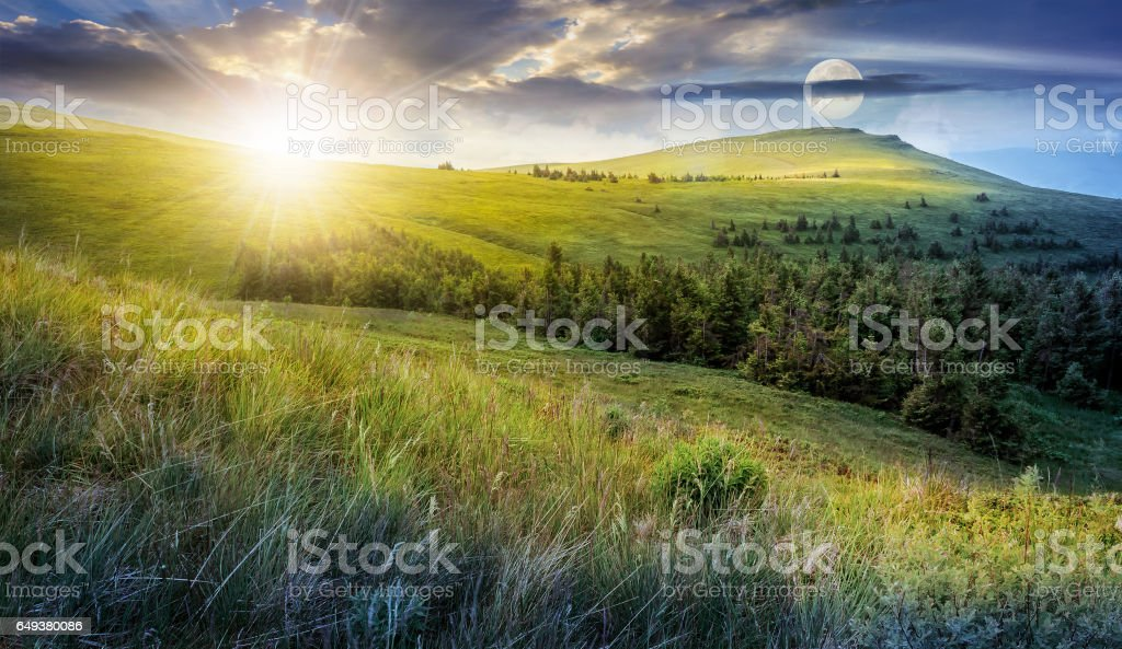day and night change in high mountain landscape stock photo