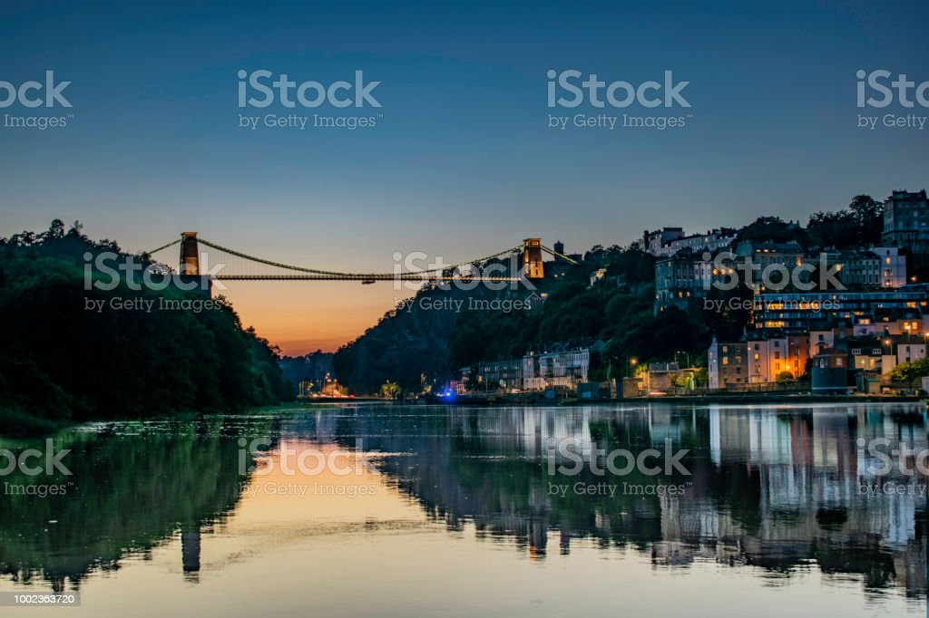 Day and night of Bristol skyline and clifton suspension bridge stock photo