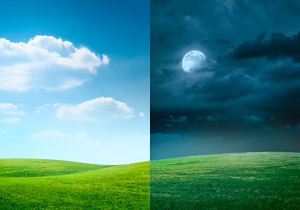 day and night on meadow - gündüz stok fotoğraflar ve resimler