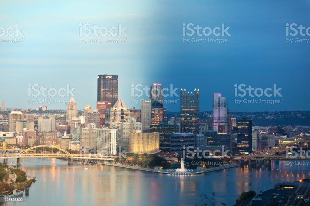 Tag und Nacht Pittsburgh Pennsylvania – Foto