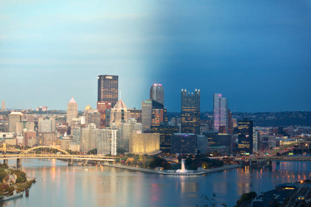 Day And Night Pittsburgh Pennsylvania A photo montage of the Pittsburgh skyline during the day and night. monongahela river stock pictures, royalty-free photos & images