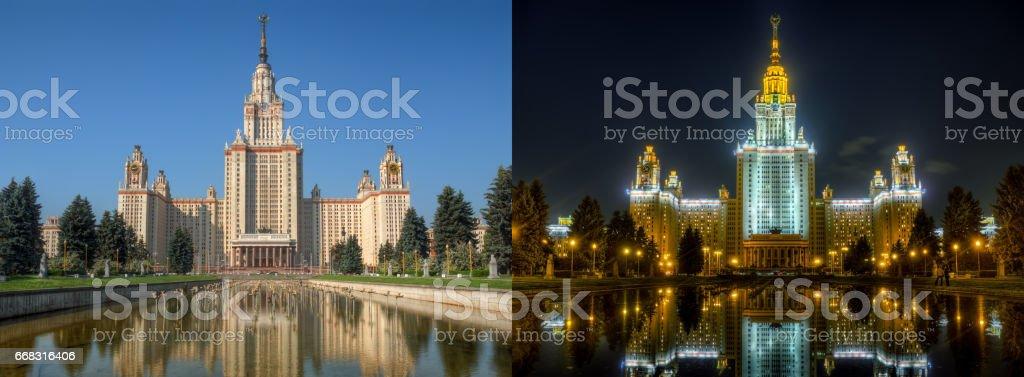 Day and night series: Lomonosov Moscow State university stock photo