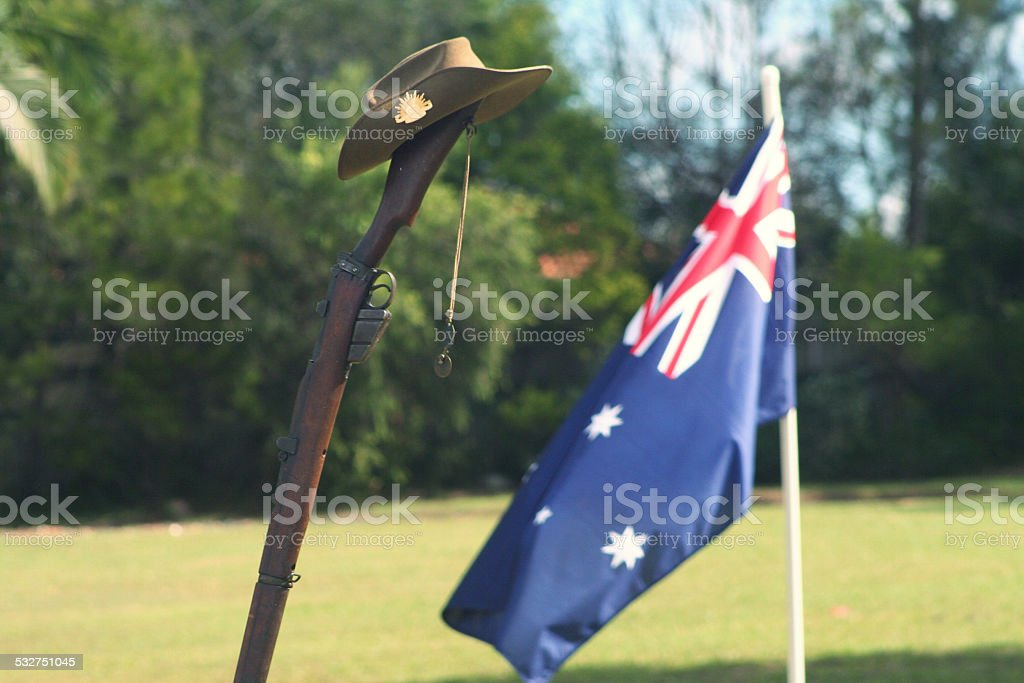ANZAC Day Army Rifle, Slouch hat, Dogtags and Australian Flag stock photo