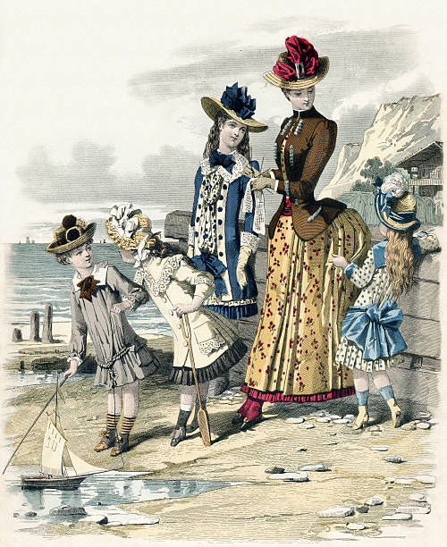 """Day At The Seaside """"Fashion illustration from French fashion magazine circa 1880, showing a lady and her children enjoying a day at the seaside.High resolution scan from my personal collection.Please see my 'Fashion Industry' lightbox for more like this and related images."""" 1880 stock pictures, royalty-free photos & images"""
