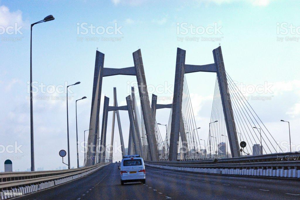 Day breaks over Bandra-Worli Sea Link zbiór zdjęć royalty-free