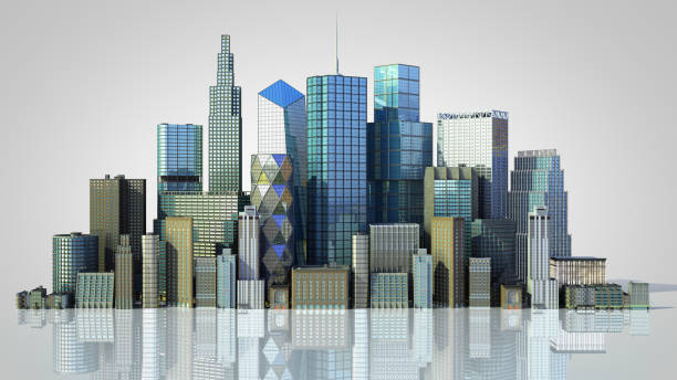 Day city with reflection 3d rendering image on grey gradient stock photo