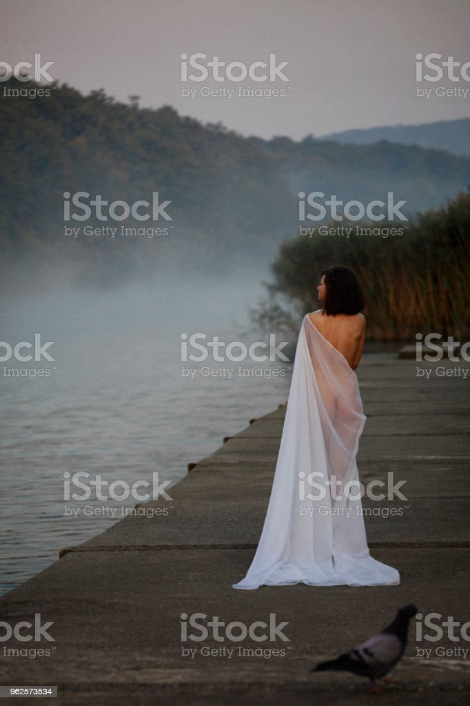 Day dream by foggy lake stock photo