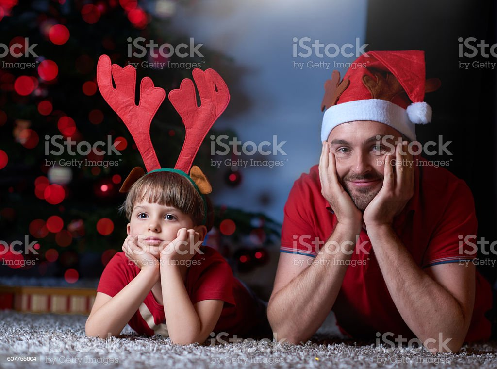 day dreaming at our Christmas presents stock photo