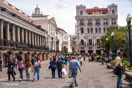 Quito, Ecuador - February 22, 2019: Street view on center of the city Quito, capital city of Ecuador. Activity in the Plaza Grande or Independence Square in the colonial, historical center of Quito, Ecuador