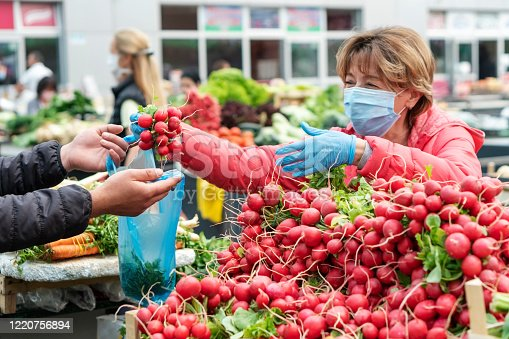 Woman shopping in the farmer's market  during COVID-19 crisis.