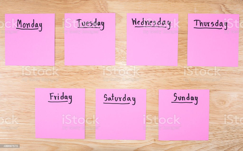 Day in the week 1 stock photo